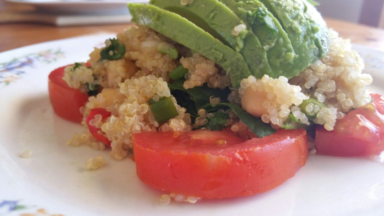 quinoa, vegan, gluten free, avocado, salad, revitalise, abi fox