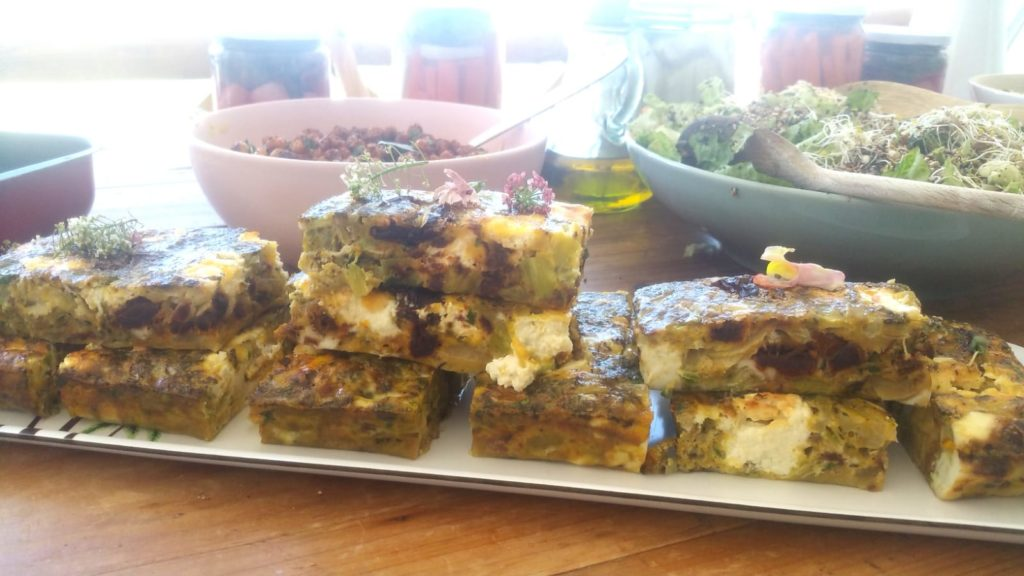 abi fox, food alchemist ibiza, retreat chef. ibiza, vegan food, vegetarian food, egg frittata,